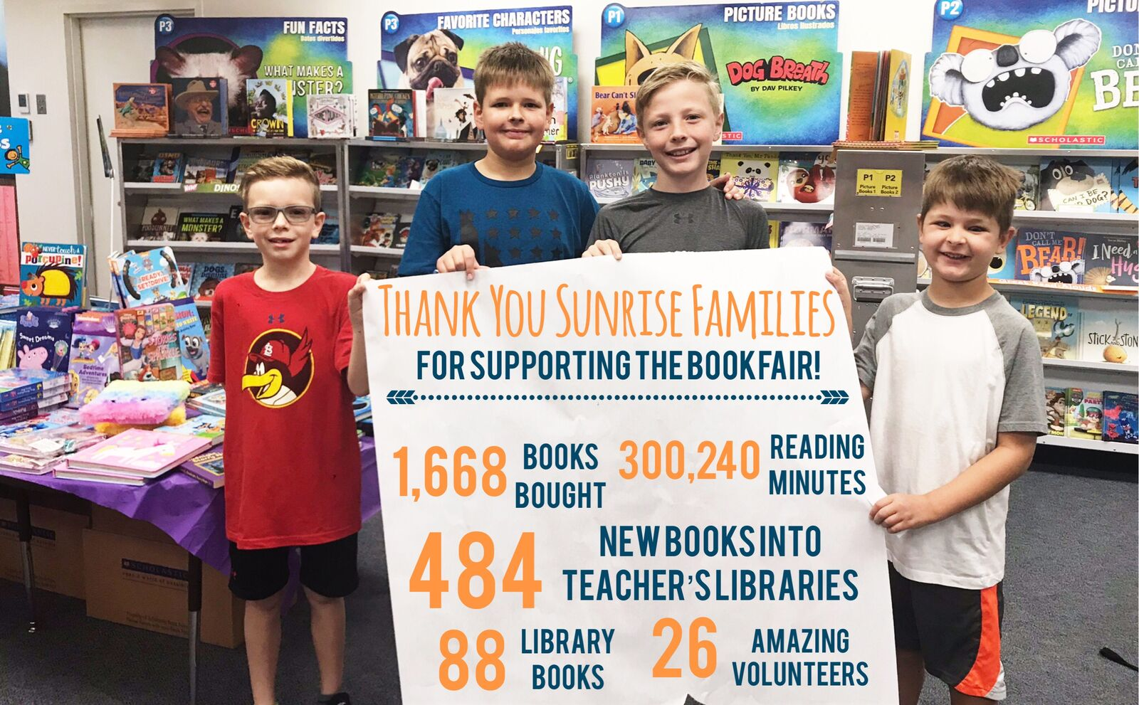 Kids holding poster with book fair sales numbers