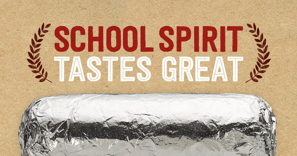 Picture of burrito with text, School spirit tastes great