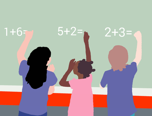 Kids at chalkboard answering math problems