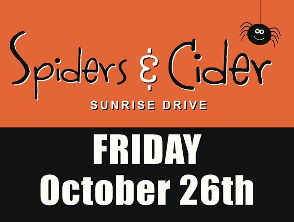 Spiders and Ciders logo, October 26th