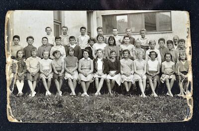 Old black and white yearbook photo
